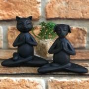 Estatueta Animal Yoga de Resina Preto