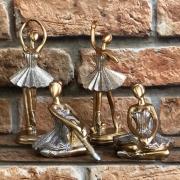 Estatueta Decorativa Bailarina Dourada Gliter