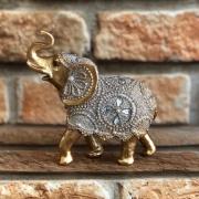Estatueta Decorativa Elefante Dourado