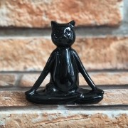 Estatueta Decorativa Gato Yoga em Resina