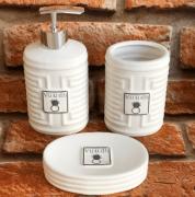 Kit Banheiro com 3 peças de Porcelana em Branco