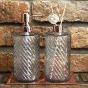 Jogo de Dispenser e Frasco para Difusor de Aromas Rose Gold em Vidro Espiral