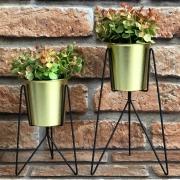 Jogo de Vaso Decorativo Dourado 2 Peças
