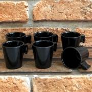 Jogo de Xícaras Cerâmica Black 6 Peças 80 ml