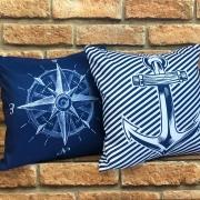 Kit 2 Capas de Almofadas Bússola Azul