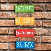 """Placa Decorativa com Corrente Ho'oponopono  """"Sinto Muito, Me Perdoe, Eu te Amo, Sou Grato..."""""""