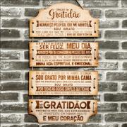 Placa Decorativa de MDF com Oração da Gratidão