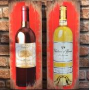 Placa Decorativa de MDF de Vinho Branco e Tinto