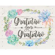 """Placa Decorativa Retangular """"Gratidão Gera Gratidão"""""""