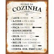 """Placa Decorativa Retangular """"Regras Da Cozinha"""""""