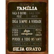 """Placa Decorativa Retangular """"Regras Da Família"""""""