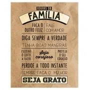 Placa Decorativa Retangular Regras da Família Marrom