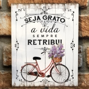 "Placa Decorativa Retangular Bicicleta ""Seja Grato"""