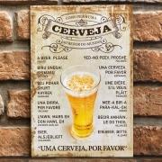 """Placa Decorativa Retangular """"Como Pedir uma Cerveja ao Redor do Mundo"""""""