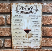 """Placa Decorativa """"Vinhos ao Redor do Mundo"""""""