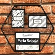 Porta Retrato Decorativo de Parede Metal Hexagonal