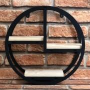 Prateleira Decorativa Nicho Madeira Circular Preto