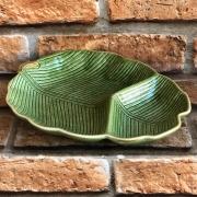 Prato de Cerâmica com Divisória Folha de Bananeira Verde