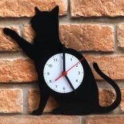 Relógio de Parede MDF Beek Gato Preto Corpo