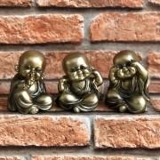"""Trio de Monges de Resina """"Não Veja, Não Fale, Não Ouça"""""""