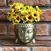 Vaso Cachepot Decorativo Cromado Buda em Cerâmica