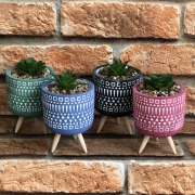 Vaso Decorativo com Tripé de Cimento Colorido