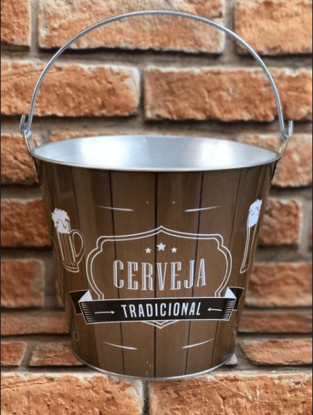Balde de Metal Galvanizado Cerveja Tradicional