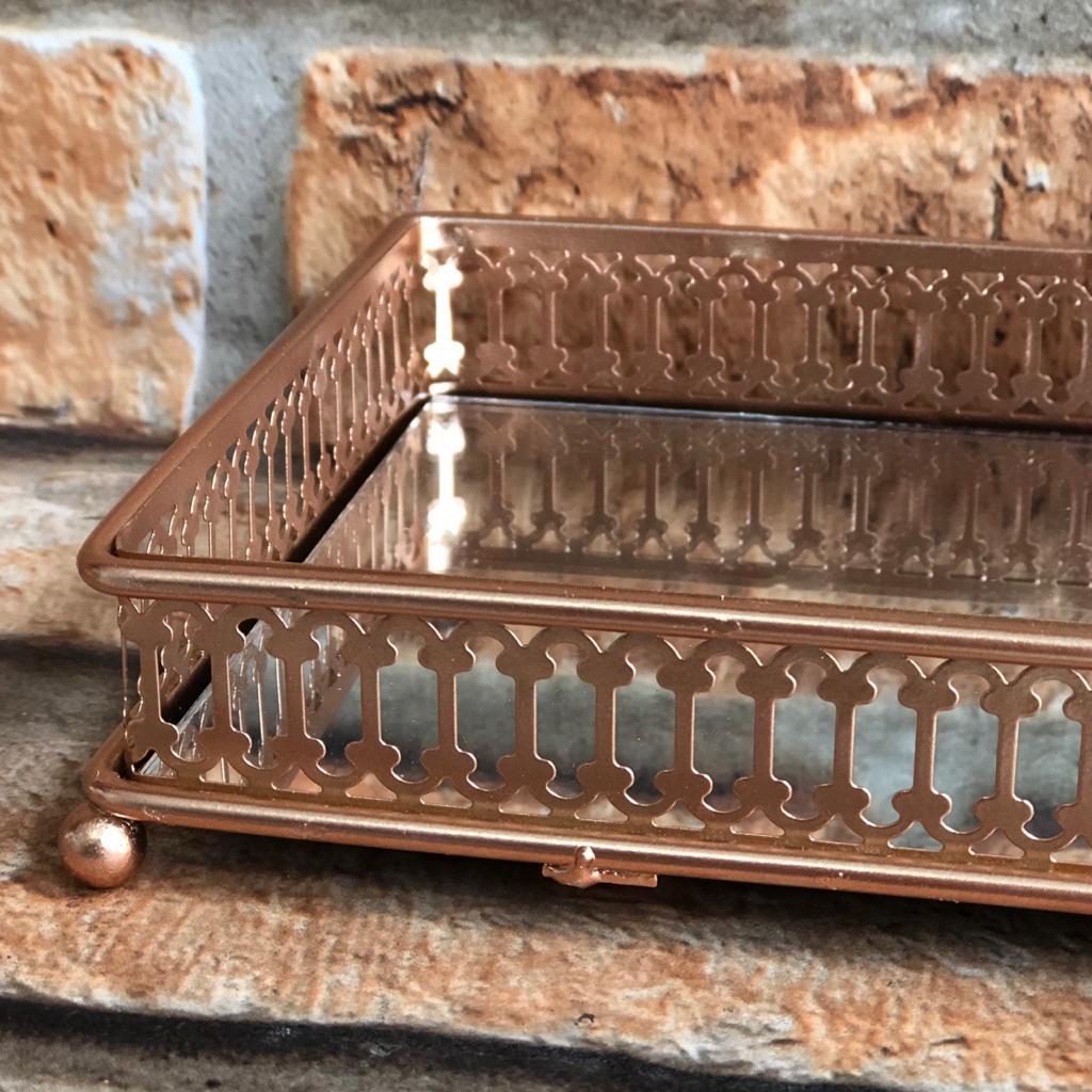 Bandeja Decorativa Espelhada Retangular Details Rose