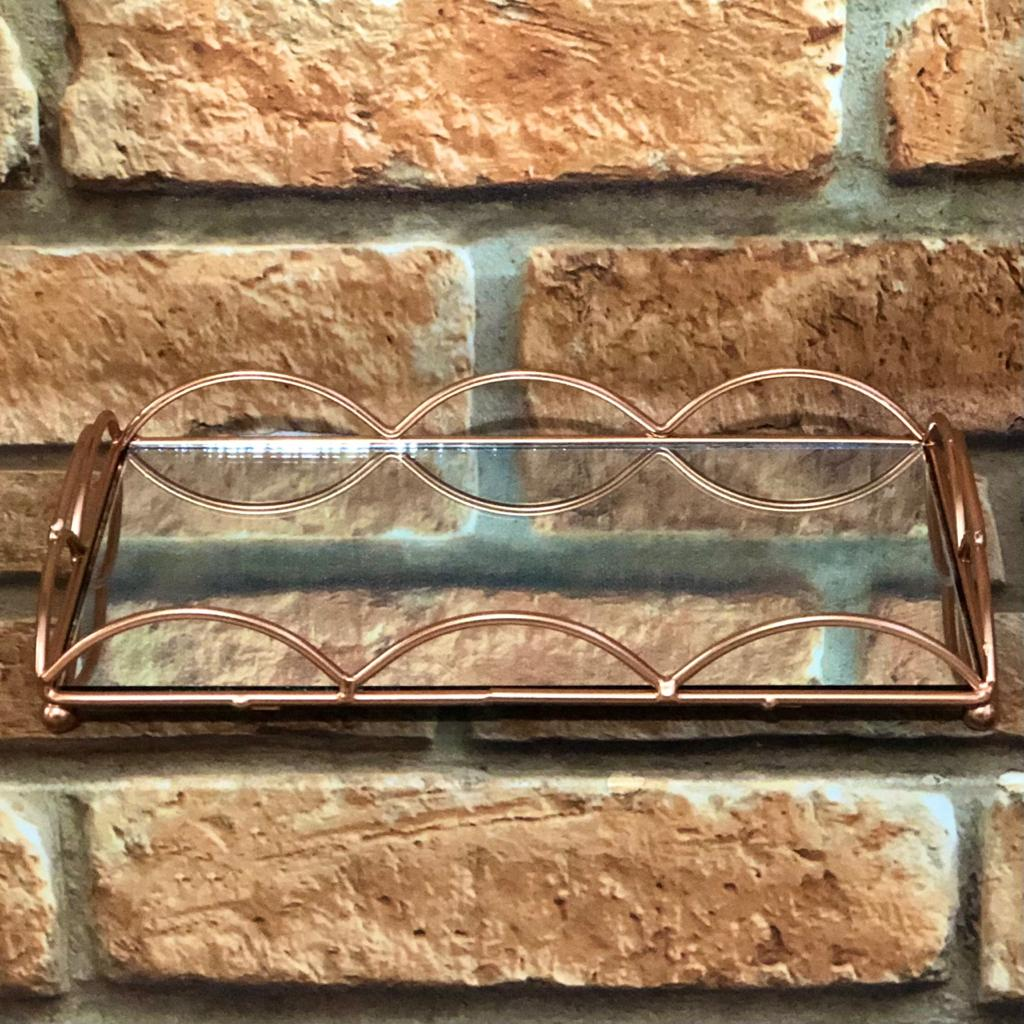 Bandeja Decorativa Espelhada Retangular Ondas