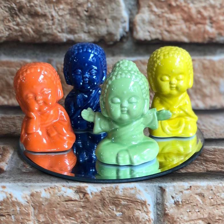 Buda Decorativo Cores Cerâmica