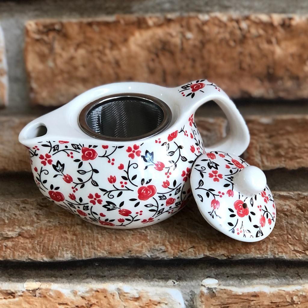 Bule Chaleira Oriental com Infusor e Tampa em Cerâmica Mini Rosas