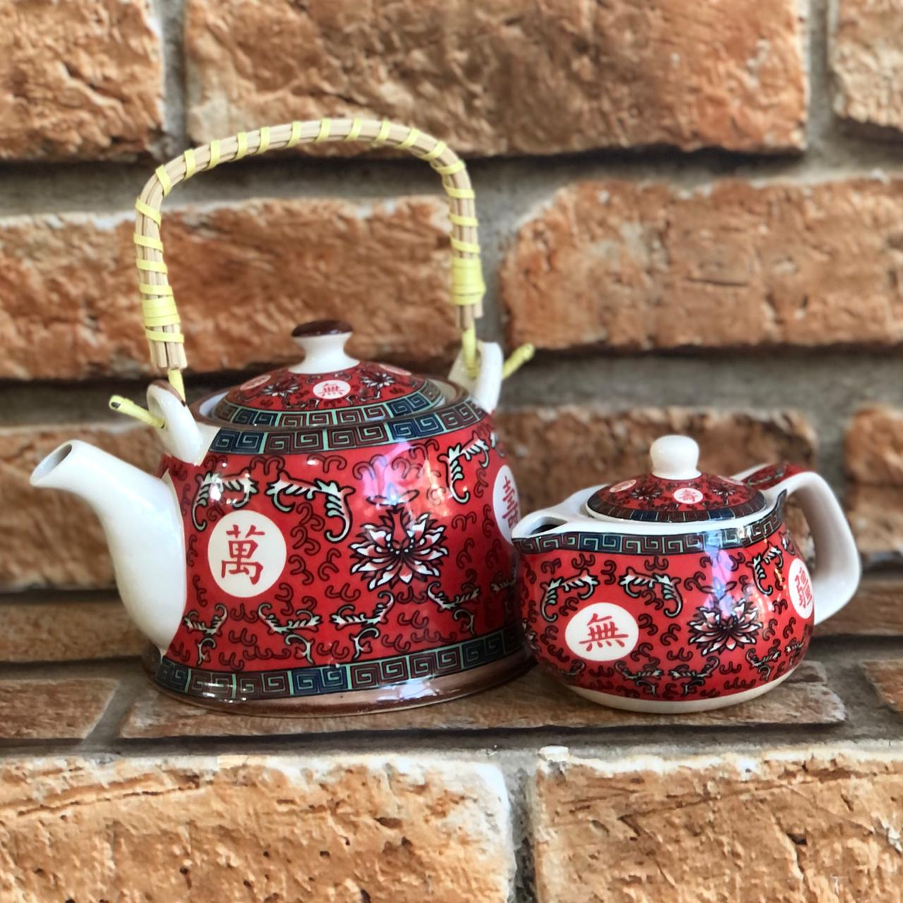 Bule Chaleira Oriental com Infusor em Cerâmica Vermelho