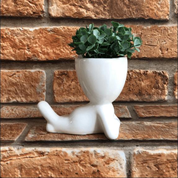 Vaso Cachepot Bob Branco Deitado de Porcelana