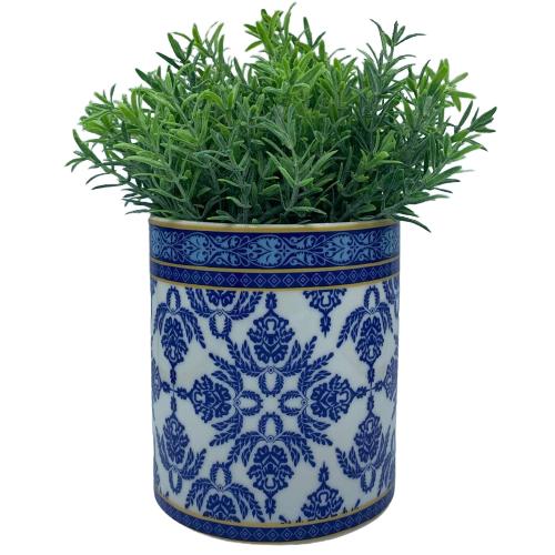 Cachepot de Cerâmica Branco e Azul Português