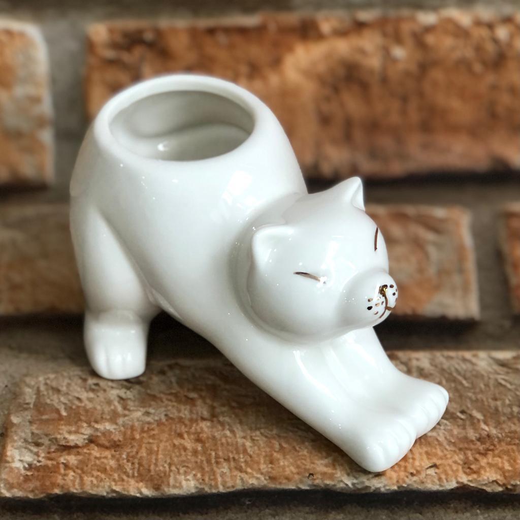 Cachepot Gato Espreguiçando Branco