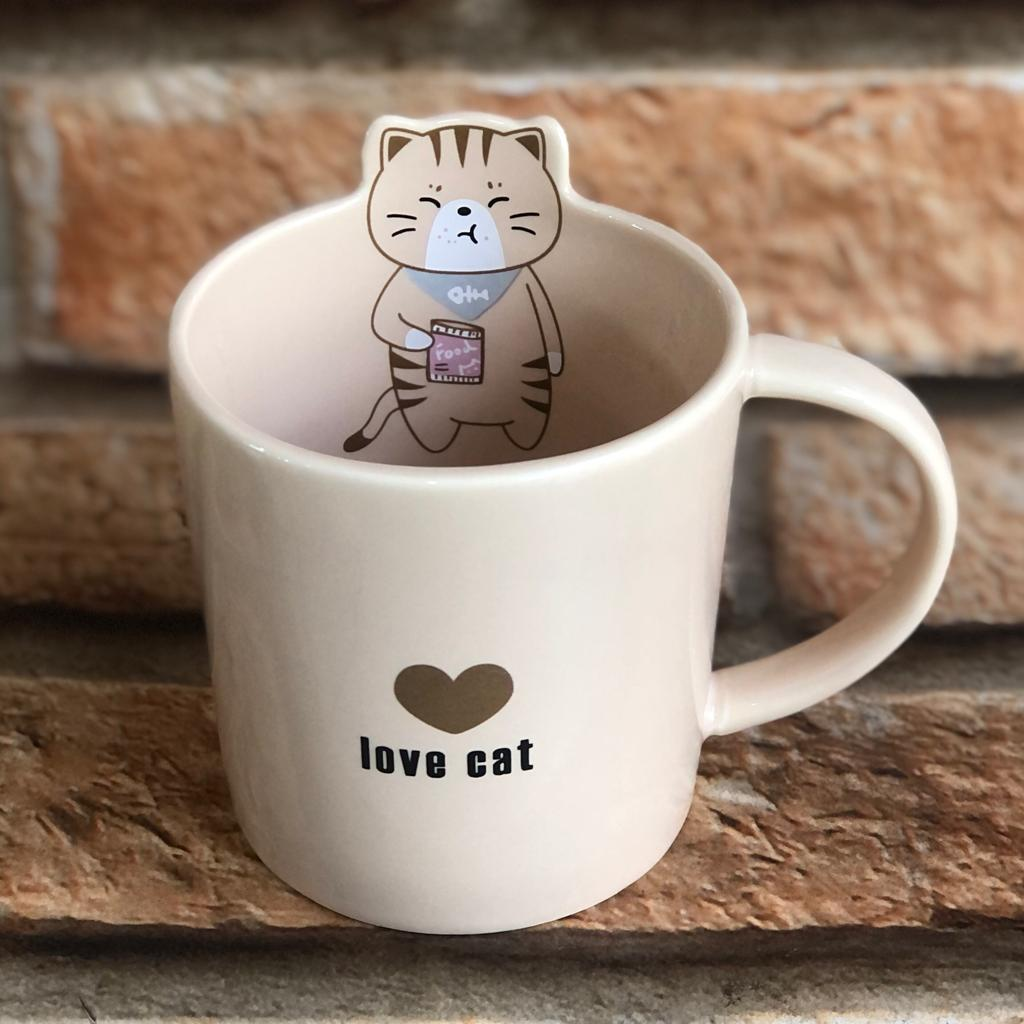 Caneca Gato Love Cat  360ml Cerâmica
