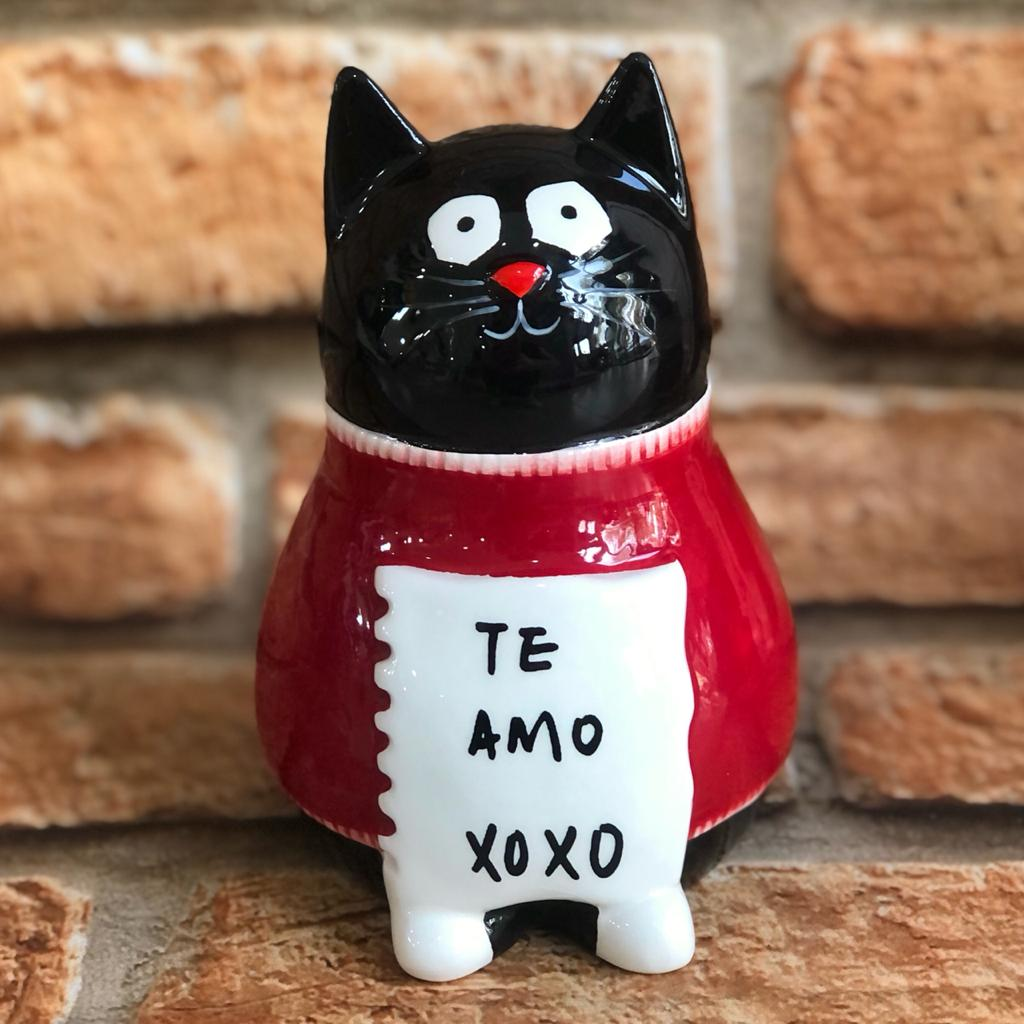 "Cofre Decorativo Gatinho ""Te amo Xoxo"" Porcelana"