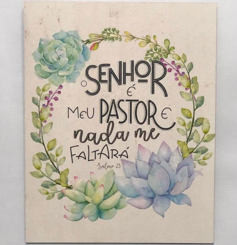 """Placa Decorativa """"O Senhor é meu Pastor"""""""