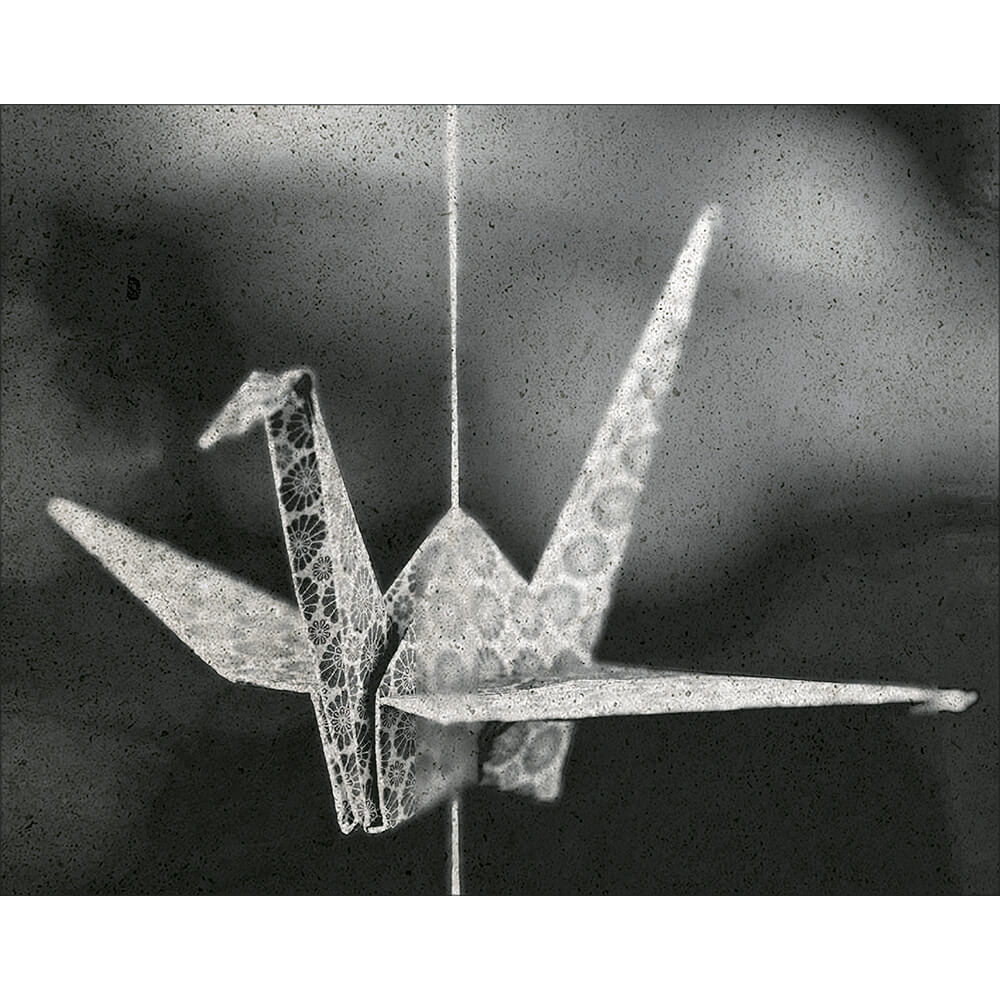 Placa Decorativa Retangular Origami Tsuru