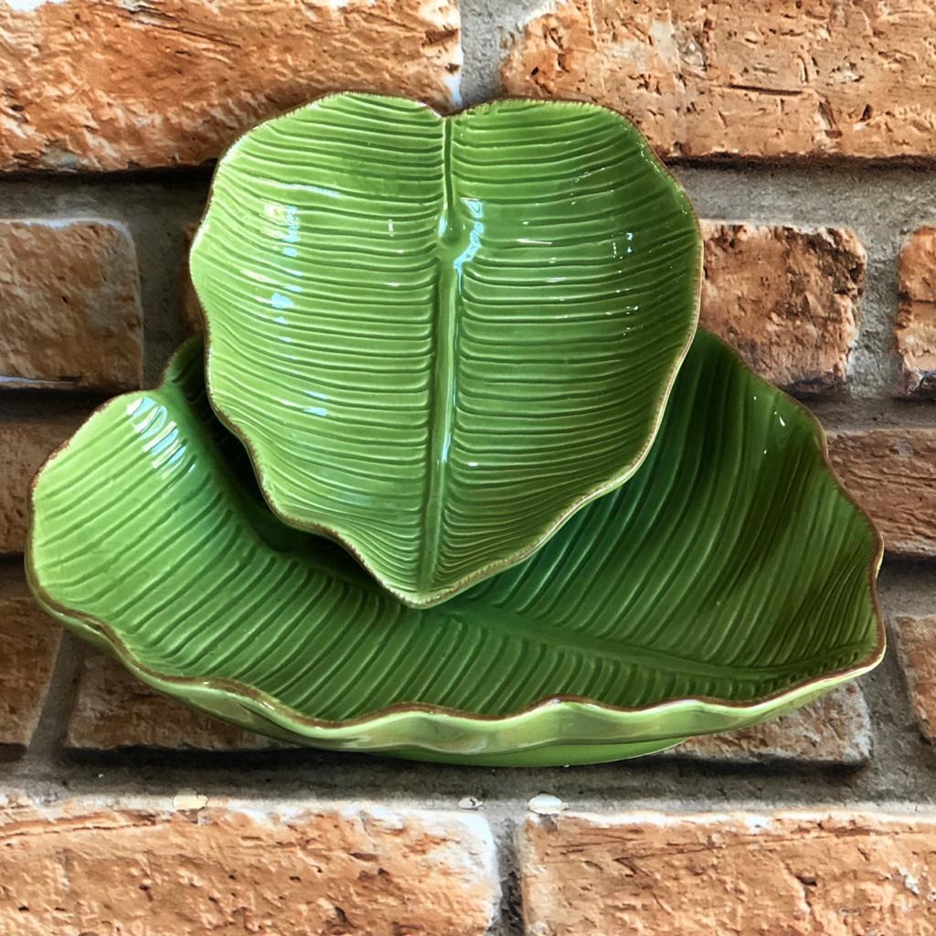 Prato de Cerâmica Fundo Folha de Bananeira Verde