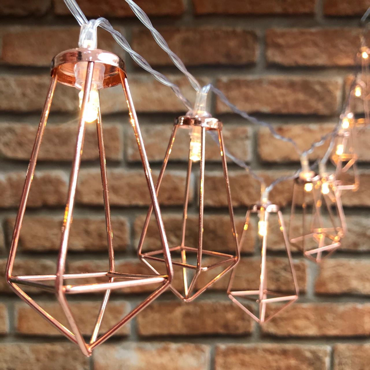 Cordão de LED Geométrico 10 Lâmpadas 2 Metros à Pilha