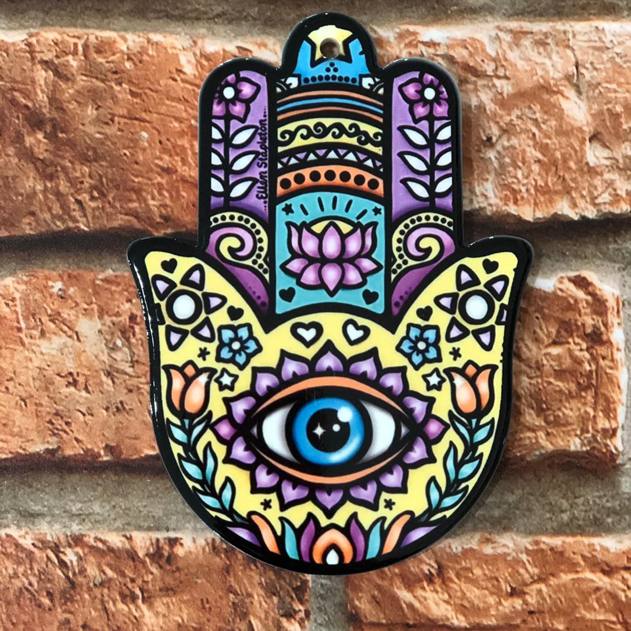 Descanso de Panela Decorativo de Porcelana Mão de Fátima Hamsá