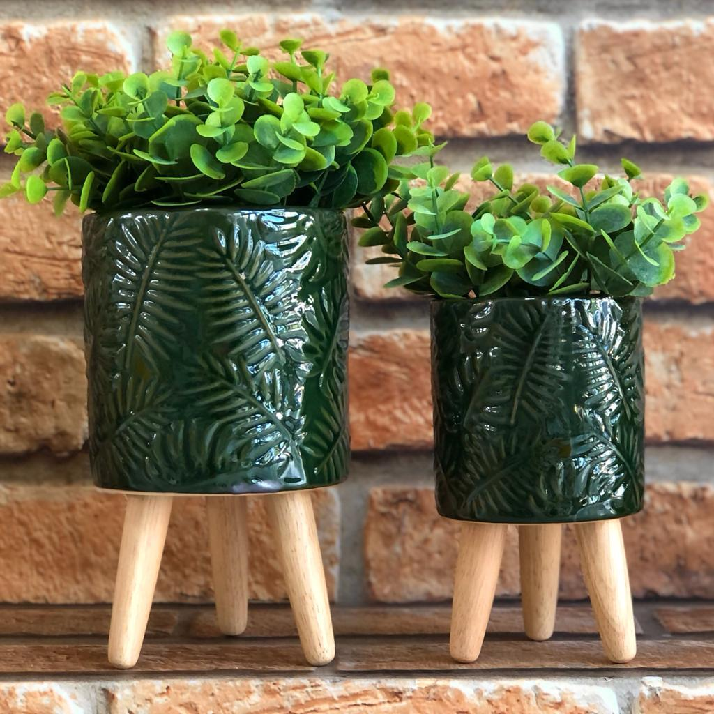 Dupla de Vasos Folhas Texturizadas