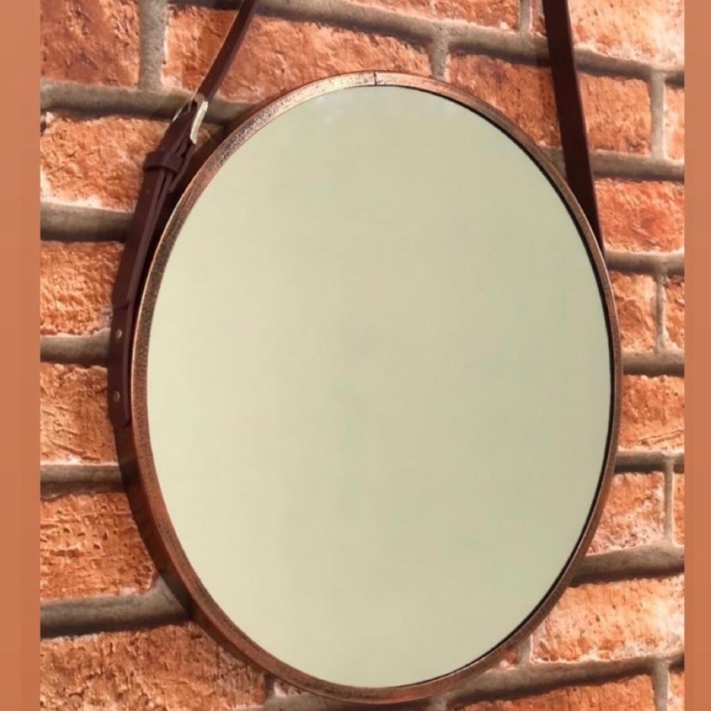 Espelho Decorativo Adnet Redondo com Alça 45cm