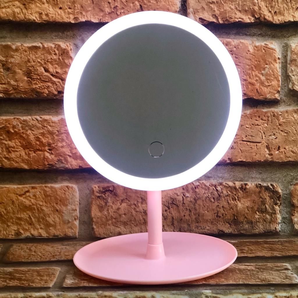 Espelho Decorativo com LED de Mesa Redondo