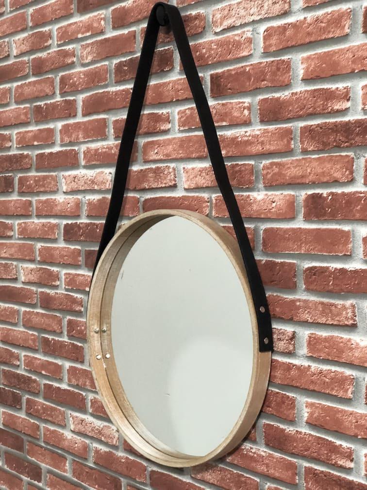 Espelho Redondo Com Moldura de Madeira com Alça Médio