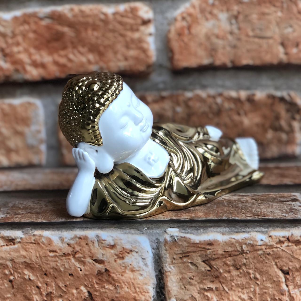 Estatueta Buda Deitado de Resina