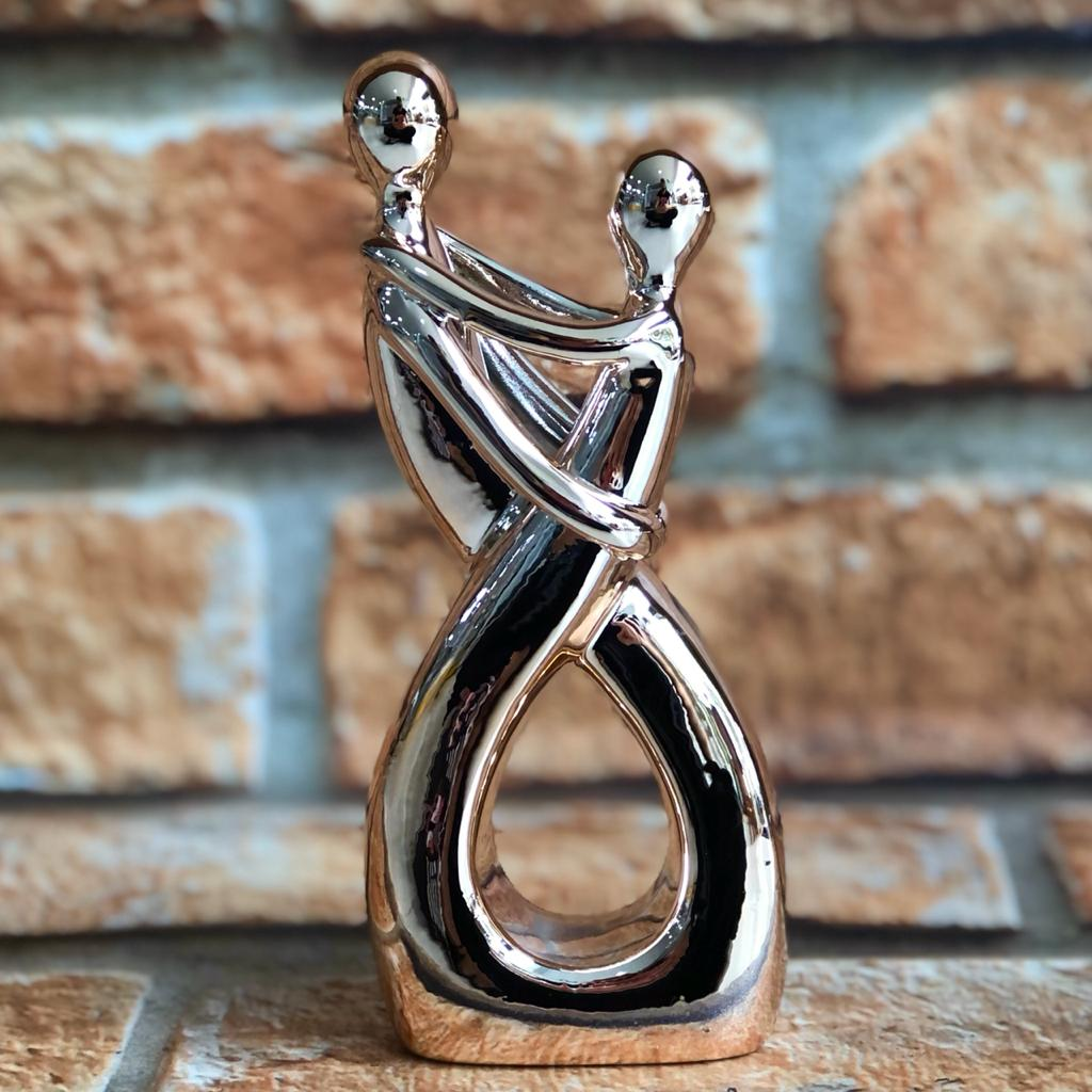 Estatueta Decorativa Porcelana Casal Prata/Rose Gold
