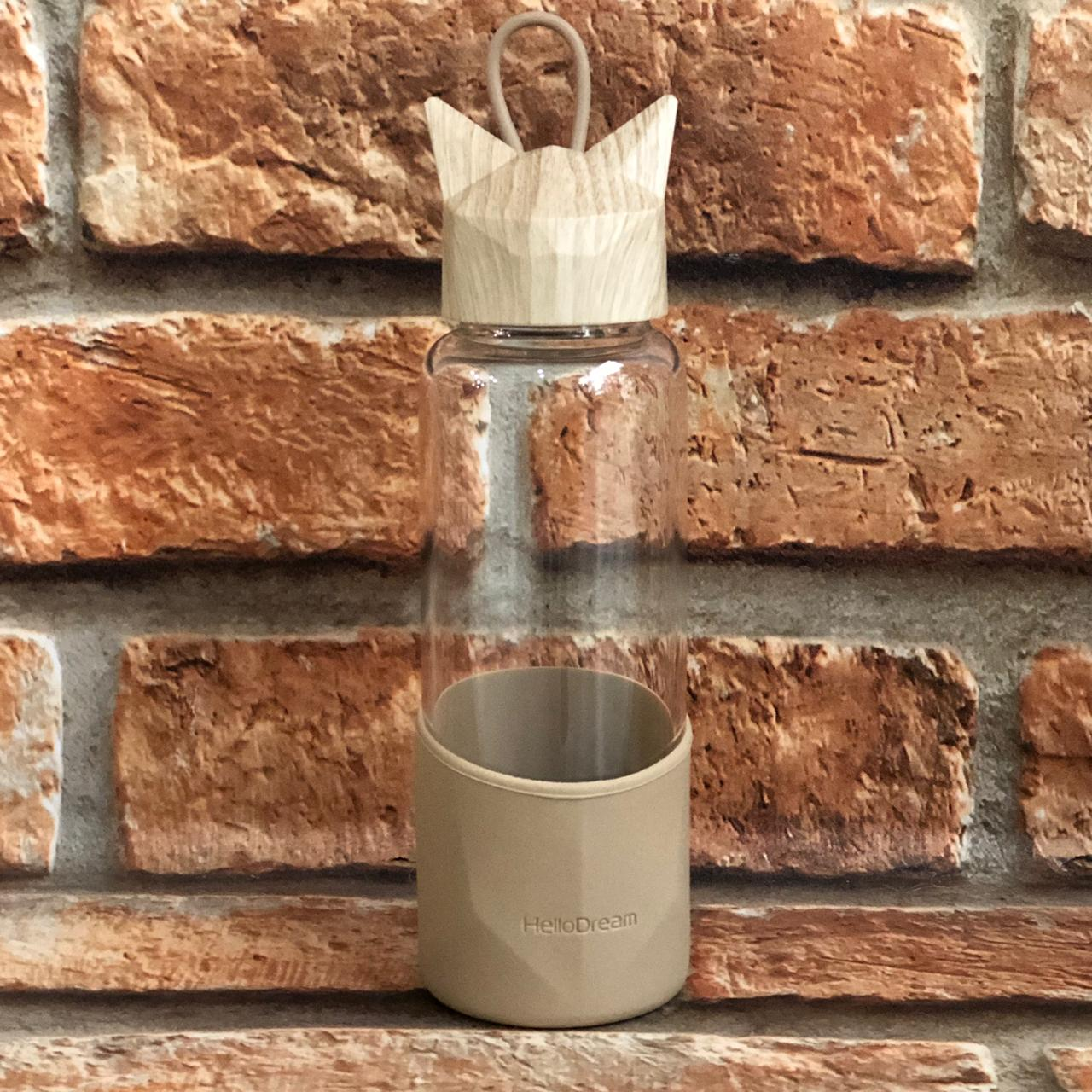 Garrafa de Vidro Gatinho com Capa de Silicone 350ml