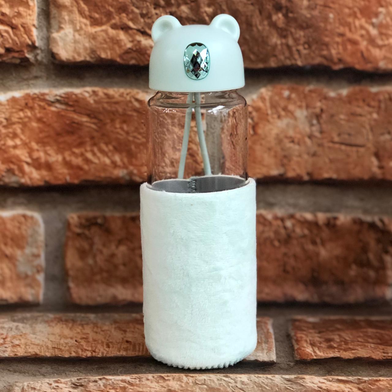 Garrafa de Vidro Urso com Capa de Silicone 350ml